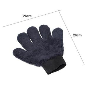 Image 3 - 2021 חדש 1pcs מיקרופייבר Paw בצורת כפפת כפול צד חמש אצבע עבה בד עמיד רכב כביסה אבזר שחור אפור