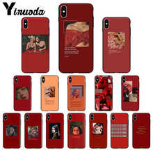 Yinuoda Retro red pattern art lyrics aesthetic Black Phone Case Cover for Apple iPhone 8 7 6 6S Plus X XS MAX 5 5S SE XR Cases