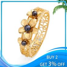 Polynesian Hawaiian Style Bracelets Fashion Black Pearl Jewelry Woman Hibiscus Flowers Bracelet Bangle for Women New Year Gifts