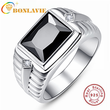 Men's Ring Wedding Created Engagement 925-Sterling-Silver Black BONLAVIE Onyx for And
