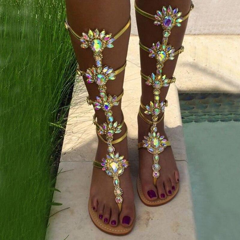 Woman Bohemia Sandal Boots Rhinestone Lady Knee High Boots Thin High Heels Stiletto Crystal Dress Summer Shoes Sandalias