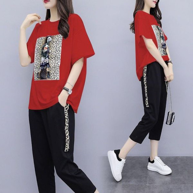 Summer Women's Black Oversize Tracksuits Casual Pantsuit Set Short Sleeve Tops Fashion Sportswear Calf-Length Pants Size 5XL 3