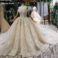 HTL718 wedding gowns with chathedral train beading lace up ball gown appliques pleat ruched wedding dress gown vestito da sposa
