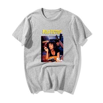 2019 New Fashion Pulp Fiction,Poster Print T Shirt Men Summer Casual 100% Cotton Short Sleeve Tshirts Tops Harajuku Streetwear - Gray 6, XL