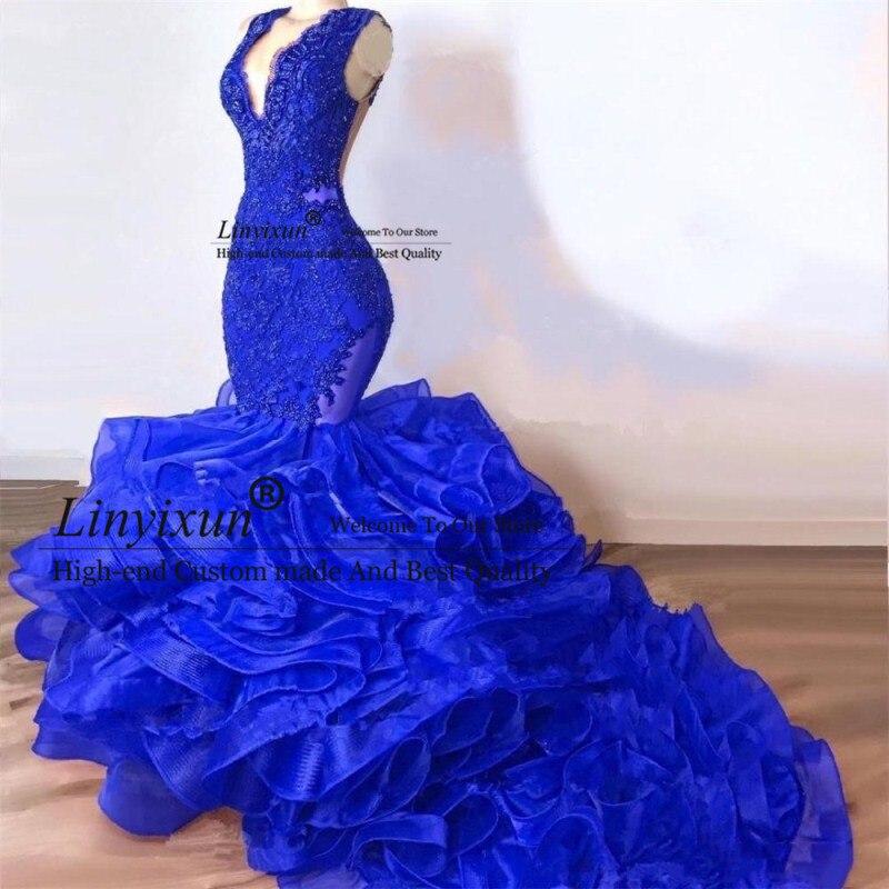 Royal Blue Beaded Mermaid   Prom     Dresses   Deep V Neck Appliqued Formal Evening   Dress   Court Train Tiered Organza   Prom     Dress