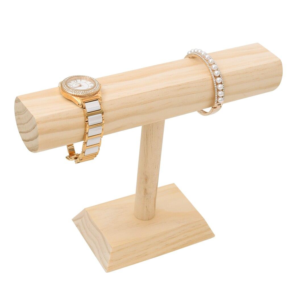 Natural Wood T-Bar Necklace Chain Wristwatch Display Showcase Organizer Decoupage Crafts