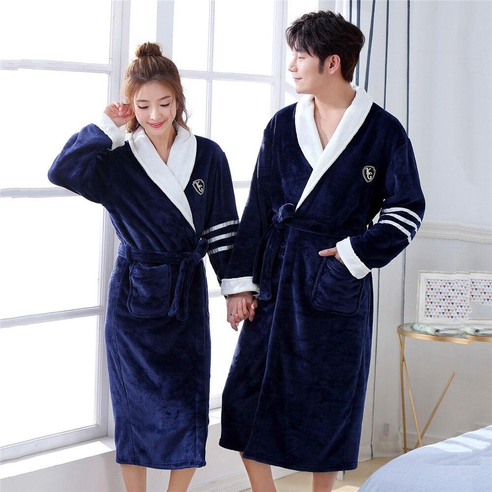 Full Sleeve Kimono Bathrobe Gown Coral Fleece Home Dressing Gown Solid Colour Intimate Lingerie Men&women Sleepwear Bathrobe