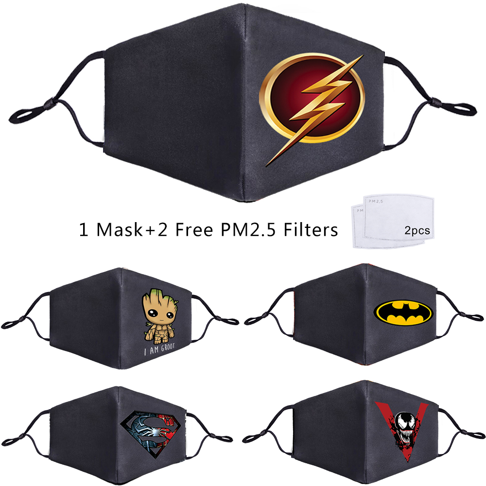 The Avengers Superhero Face Mouth Mask Free PM2.5 Filter Thanos Iron Man Deadpool Batman Venom Flash Superman Anti Dust Masks
