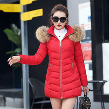 Winter jacket women fur collar hooded thick warm quilted down cotton coat Slim office Female jacket M-6XL large size Parker цены онлайн