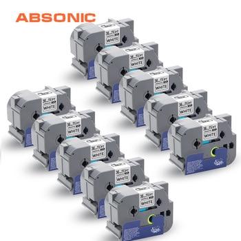 Absonic 10PCS Label Tape TZe-261 TZ-261 Black on White 36mm Cartridge Ribbon Tape for Brother P-Touch PT9700PC PT9800PCN Printer