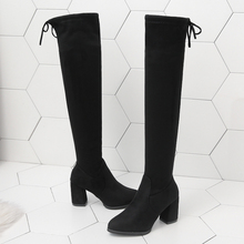 Fashion Slip On High Boots Over The Knee Women Stretch Women 2019 New Autumn Boots Women Sexy High Heels Boots Soft Black Boots fashion knight boots women long boots soft leather bowtie boots round toe slip on solid knee high women boots black and brown