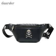 Guarder rock skull belt bags for women rivet chest steamed waist bag Banana female Punk fanny pack 2019 handbag GUA0028