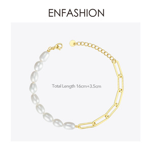 Image 3 - ENFASHION Natural Pearl Link Chain Bracelet Female Gold Color Stainless Steel Femme Bracelets For Women Fashion Jewelry B192069