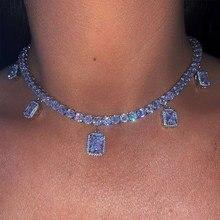 Neue angekommene frauen halsband halskette 32 + 10cm mit multi schmetterling quadratische form charme gepflastert kurze halskette für hüfte hop hochzeit geschenk