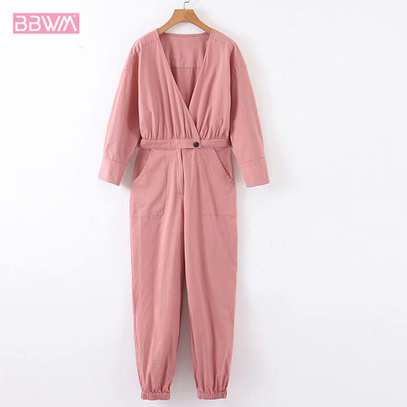 V-neck Long-sleeved High-rise Pink Women's Jumpsuit Waist Long Sleeve Casual Cross Tooling Female Jumpsuit Chic Tops