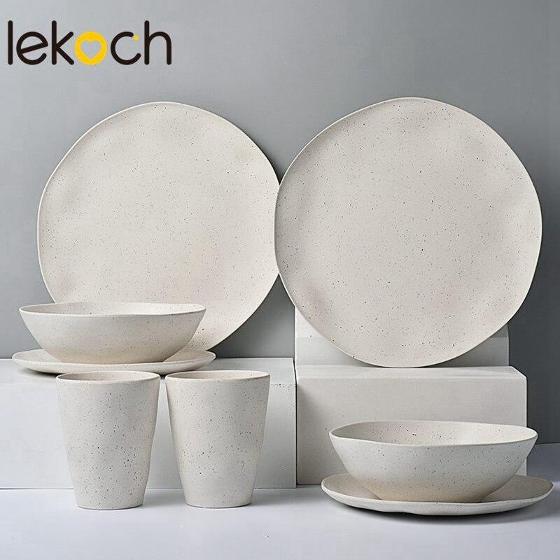 LEKOCH écologique bambou vaisselle USA entrepôt à manger vaisselle ensemble dîner assiette plat Portable voyage réutilisable ustensile Kit