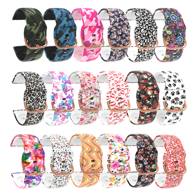 22mm 20mm Graffiti pattern Silicone Watchband For Samsung Galaxy Watch 42mm Active 2 40mm Bracelet Replacement strap for Gear S2