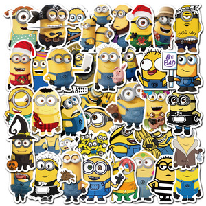 50pcs/pack Minions Cartoon Movie Stickers For Notebook Motorcycle Skateboard Computer Mobile Phone Cartoon Toy Trunk Etc