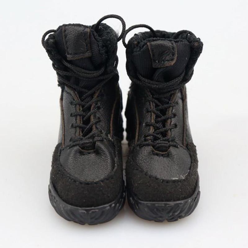 1/6 Scale Male Soldier Black Combat Shoes combat boots Boy Plus Grid Leather Shoes Model 12 Action Figure accessories Toys