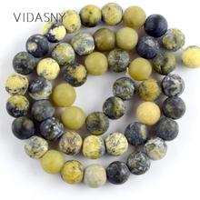 Natural Dull Polished Yellow Turquoises Stone Beads For Jewelry Making 4 6 8 10 12mm Round Diy Bracelet Necklace 15