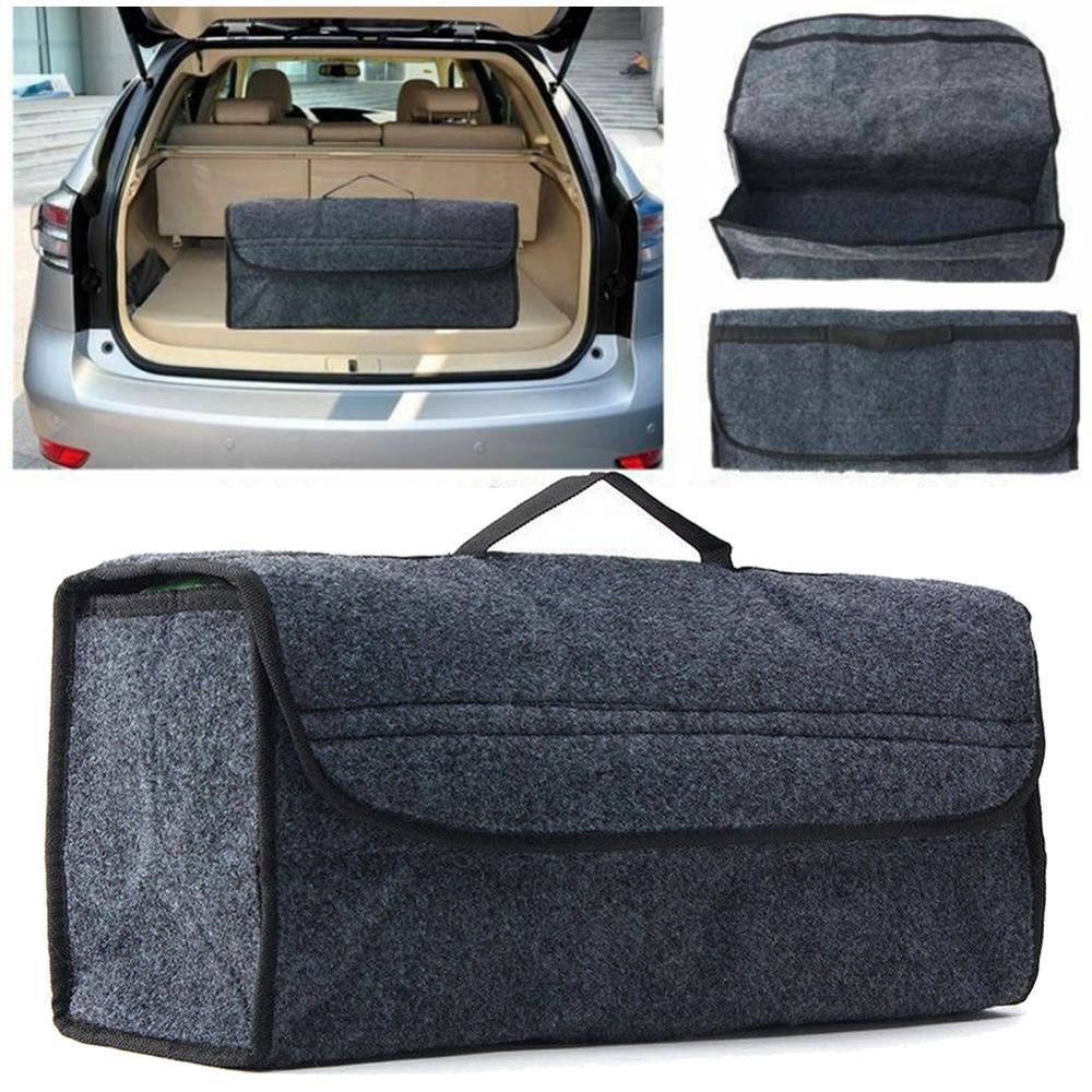 Car Trunk Organizer Foldable Storage Bag Box Cargo Portable Gray Felt Cloth Collapsible Car Compartment Trunk Bag Auto Accessory