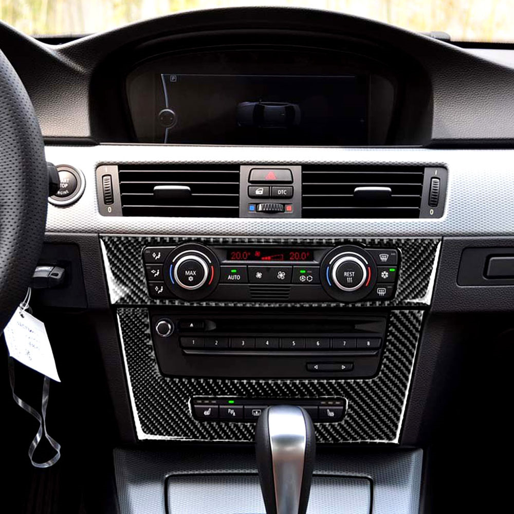<font><b>Carbon</b></font> <font><b>Fiber</b></font> <font><b>Interior</b></font> Decoration Frame Cover Trim For <font><b>BMW</b></font> 3 Series <font><b>E90</b></font> 2005-2012 CD Panel Dashboard Cover Trim Car Stickers image