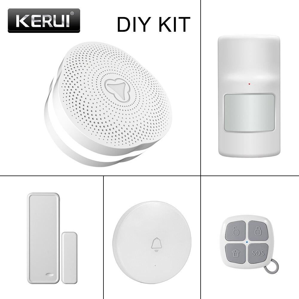 KERUI W06 Smart WIFI Gateway Home Security Alarm APP Remote Control LED Flash Light Door/Window Sensor Motion Alarm System
