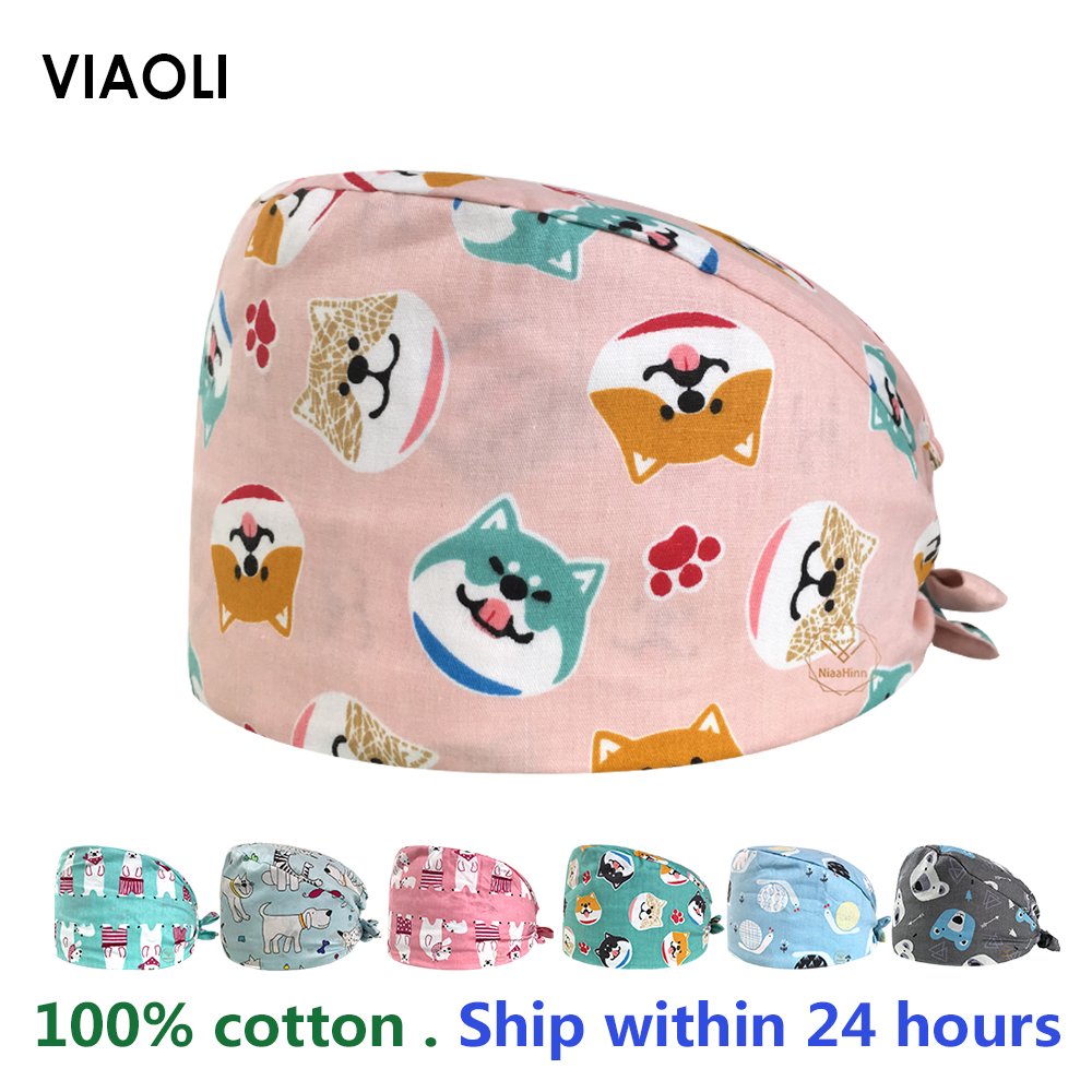 Wholesale 100%Cotton Cartoon Animal Printing Medical Scrub Surgical Cap Dentistry Pets Beauty Salon Doctors And Nurses Work Caps