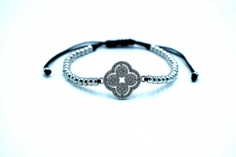 Четырехлистный амулет Клевер Браслеты для мужчин и женщин CZ циркониевые браслеты сталь 4 мм бусины классический европейский стиль плетение