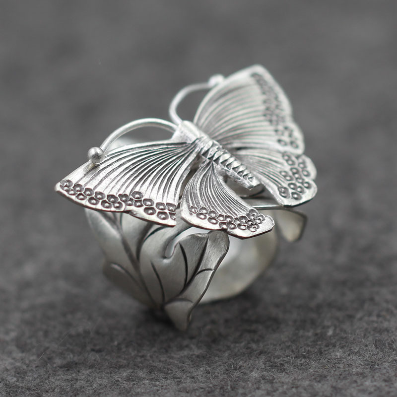 925 Genuine Sterling Silver Butterfly Trendy Ring Lady Style Retro Finger Ring Thai Handmade Silver PKY246