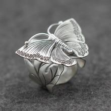 Fyla Mode 14g Genuine 925 Silver Wedding Leaves Butterfly Design Adjustable Antique Thai Finger Rings For Women PKY246