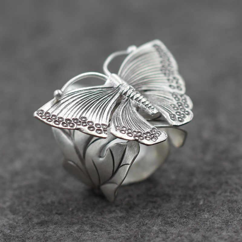 خاتم عصري على شكل فراشة من الفضة الإسترليني الأصلية لعام 925 خاتم إصبع كلاسيكي للنساء مصنوع يدويًا من الفضة PKY246