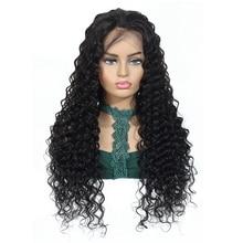 NAFUN perulu derin dalga sırma ön peruk Remy İnsan saç dantel kapatma peruk siyah kadın için önceden koparıp bebek saç % 150 yoğunluk