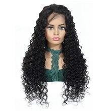 Nafun peruano onda profunda do laço frontal perucas remy cabelo humano fechamento do laço perucas para a mulher negra preplucked cabelo do bebê % 150 densidade