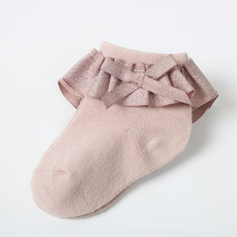 0-12M Newborn Baby Lace Socks Bow Princess Socks Girls Spring and Autumn Baby Cotton Socks