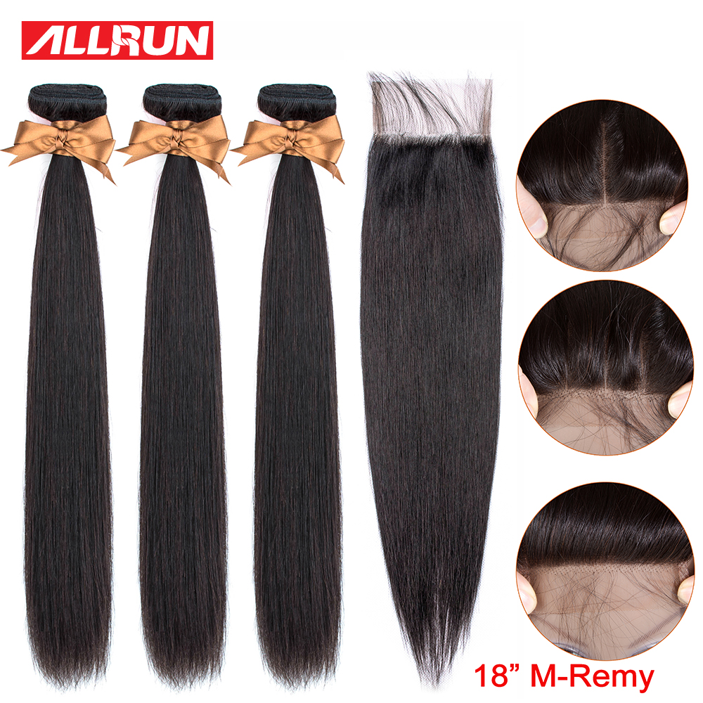 Allrun Straight Hair Bundles With Closure Human Hair Bundles With Closure Remy 3 Brazilian Hair Weave Bundles Middle Ratio