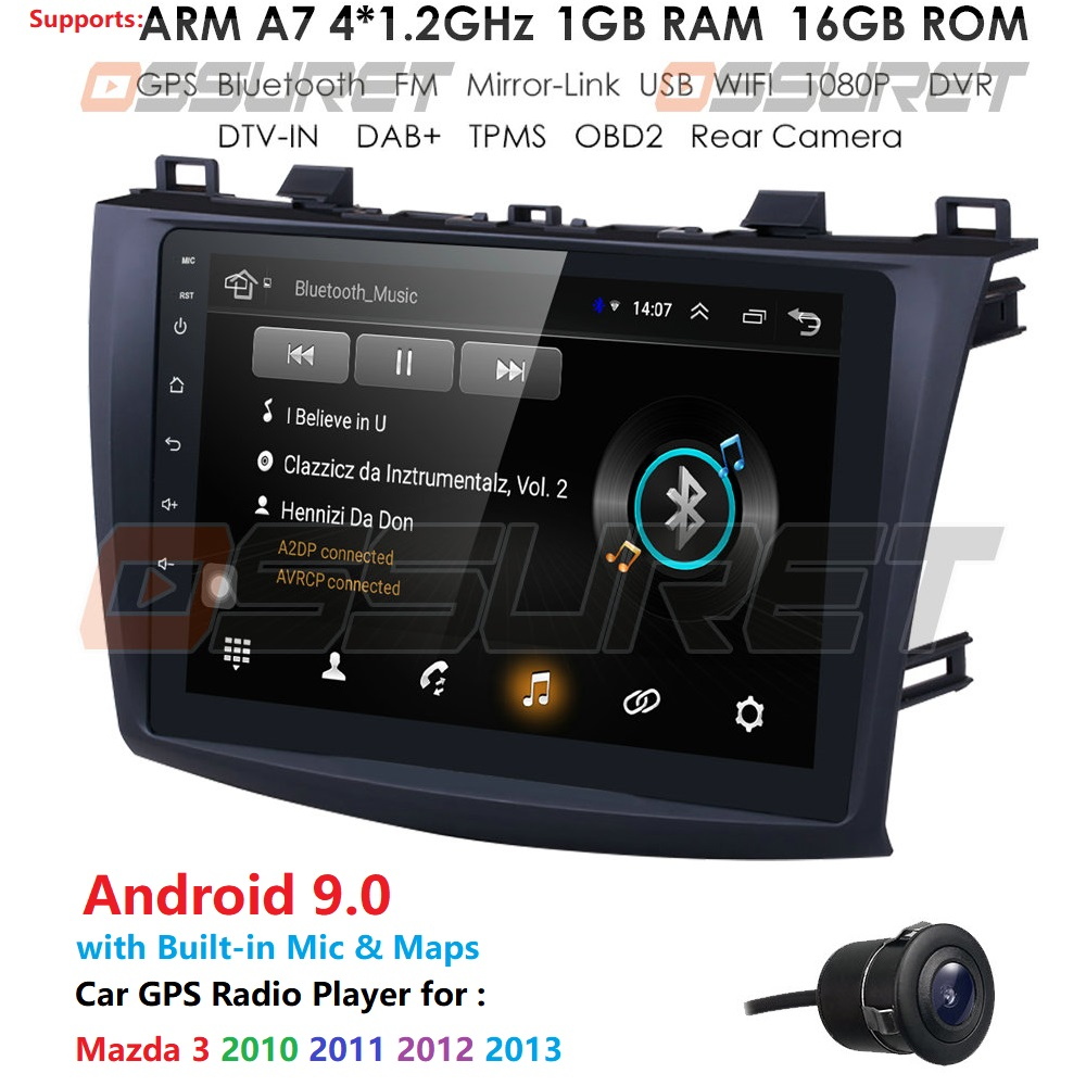 For MAZDA 3 2010 2011 2012 2013 Android 9.0 9 Inch Rom 16GB Car GPS Navigation Radio Multimedia Player Support TPMS DTV DAB OBD2