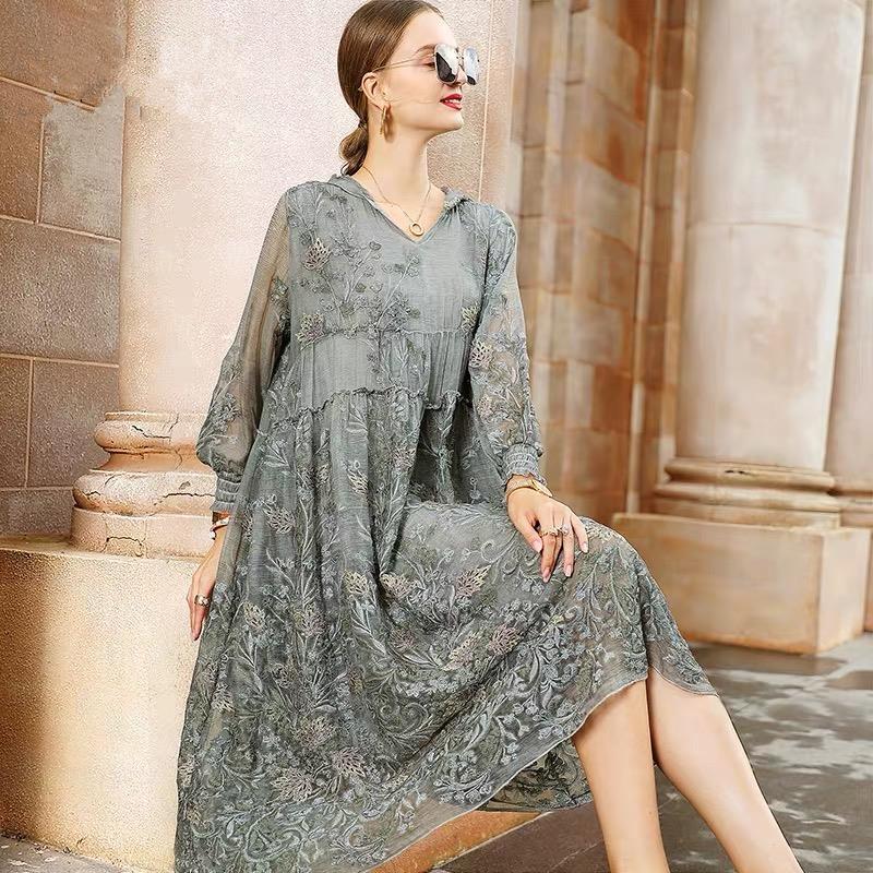 Женское платье-трапеция с вышивкой, свободное элегантное Сетчатое платье с капюшоном и длинным рукавом, модель приблизительно 4xl S34 на лето, ...