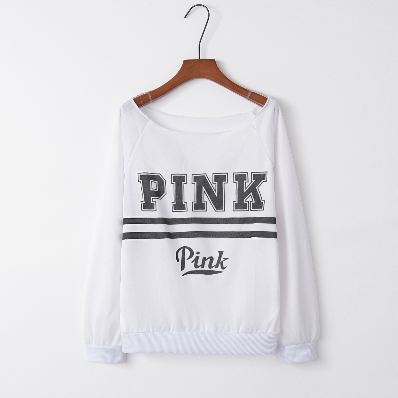 Two pink letter White 2020 New Design Hot Sale Hoodies Sweatshirts Women Casual Kawaii Harajuku Sweat Girls European Tops Korean