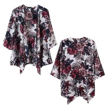 Vintage Women Ink Floral Print Blazer Batwing Kimono Coat Jacket Cardigan
