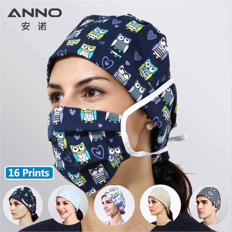 ANNO Disposable Cotton Surgical Caps Women Man Medical Caps Surgical Surgeon's Surgery Hat Hospital Nurse Women Work Hat