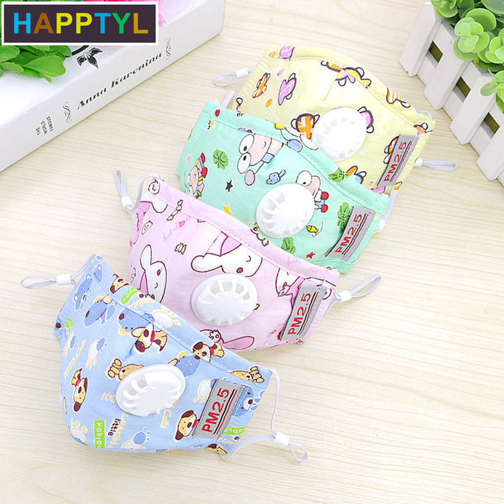 HAPPTYL Mouth Mask Children Kids Thicken Cotton Face Mouth Mask Anti Dust Pollution PM2.5 Respirator With Breath Valve Cartoon