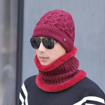 Coral Fleece Scarf Hats Winter Beanies Soft For Mens Black Warm Breathable Wool Knitted Winter Hat Letter Double Layers Caps solid soft winter pompoms hats for women knitted hats for girls wool big ball caps casual black beanies warm hat gorrses