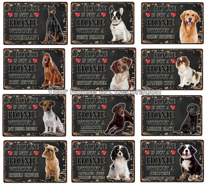 Black White Pets Dog Metal Sign Tin Poster A Home Doberman Golden Labrador Home Decor Bar Wall Art Painting 7.8x11.8inch