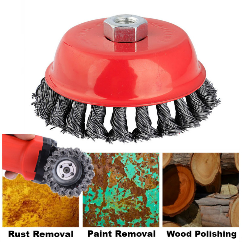 Twisted Steel Wire Wheel Quick Rust Clean Flat Cup Angle Grinder Brush Strong Paint Remove Rotary Twist Knot Deburring