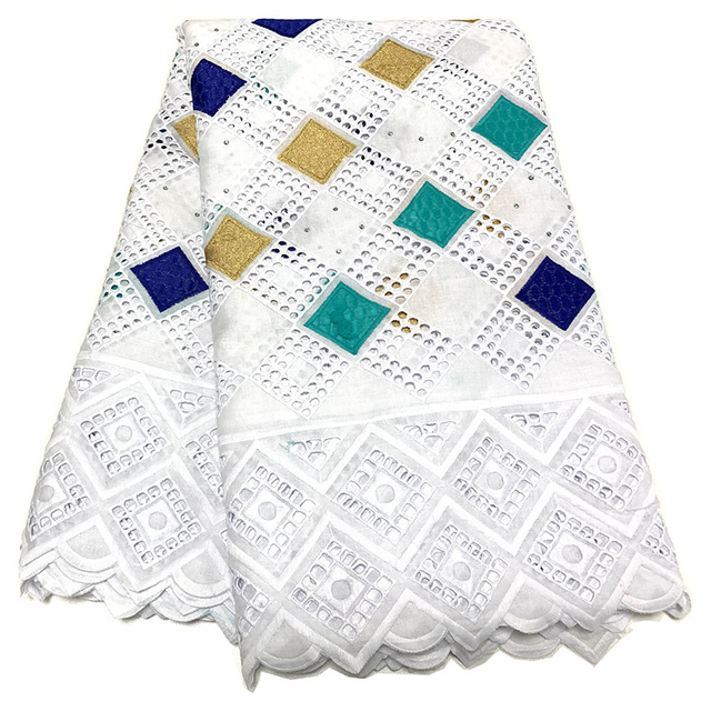 NIAI حار بيع 100% القطن الأفريقي قماش دانتيل جاف النيجيري أقمشة الدانتيل 2020 جودة عالية الفوال السويسري في سويسرا XY2868B 1
