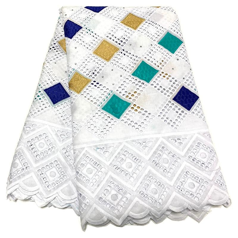 NIAI vente chaude 100% coton tissu africain de dentelle sèche tissu nigérian de dentelle 2019 voile suisse de haute qualité en Suisse XY2868B-1