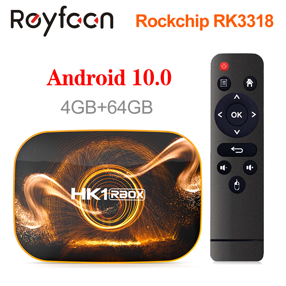 HK1 RBOX Android 10 Smart TV Box 4 Гб 64 Гб 32 Гб Rockchip RK3318 1080P H.265 5G Wifi 4K Google Player Store Youtube Set Top Box