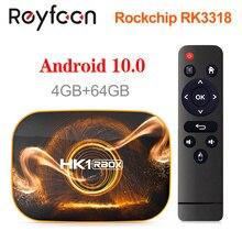 Hk1 rbox android 10 smart tv box 4gb 64gb 32 rockchip rk3318 1080p h.265 5g wifi 4k google player loja youtube conjunto caixa superior