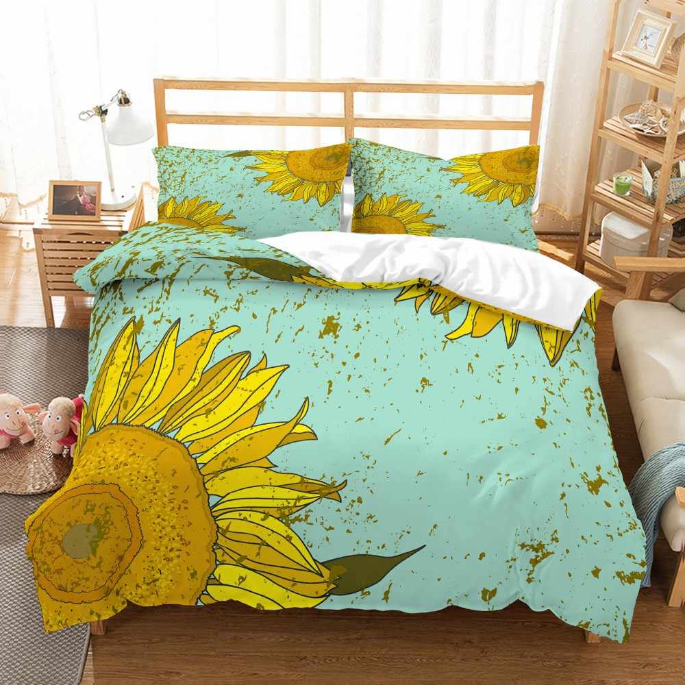 Sunflower Series Bedding Set 2/3PCS Microfiber Bedspread Girls Kids Bedding Sets Soft Pillowcase Double Queen King Size Bed Sets
